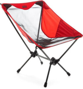 camp chairs rei desk chair heater co op flexlite macro review man makes fire this photo shows the in goji red