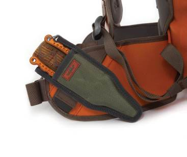 This shows the Fishpond pliers attachment accessory on the Thunderhead Submersible Backpack.
