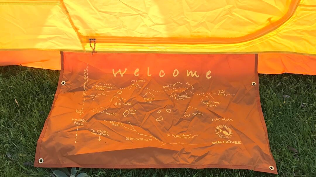 This image shows the Big Agnes Big House 4 Deluxe tent's welcome mat.