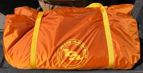 This photo shows the carry bag for the Big Agnes Big House 4 Deluxe tent.