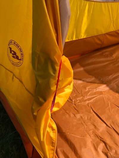 This photo shows how the door tucks out of the way on the Big Agnes Big House 4 Deluxe tent.