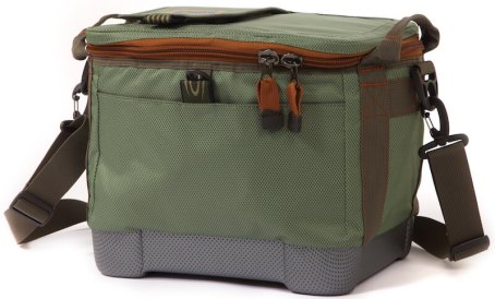 This photo shows the Fishpond Blizzard Soft Cooler in the green 'Yucca' color option.