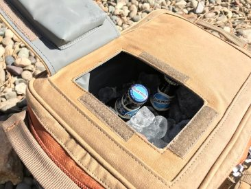 This photo shows the quick access hatch on the Fishpond Blizzard Soft Cooler.