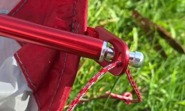 This image shows the MSR Hubba Tour pole and grommet connections.