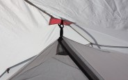 This photo shows the MSR Hubba Tour 2 Tent interior connection to the exterior rainfly.
