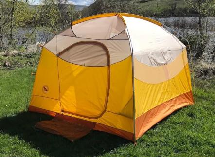 This photo shows the Big Agnes Big House 4 Deluxe tent setup without the rain fly.
