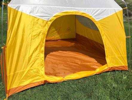 This photo shows the back door on the Big Agnes Big House 4 Deluxe camping tent.