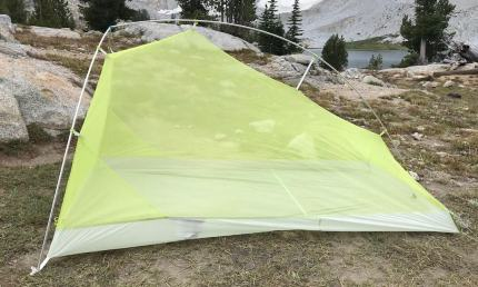This photo shows the Big Agnes Fly Creek HV2 Platinum tent from a side view.