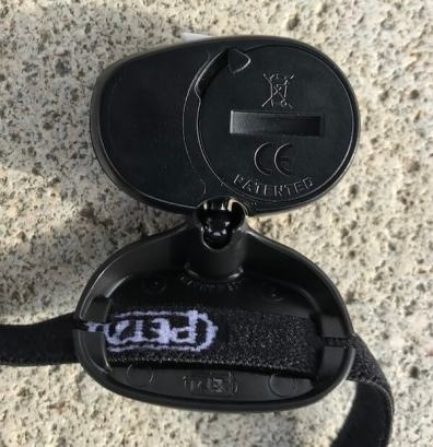 This photo shows the Petzl e+LITE Headlamp battery compartment.