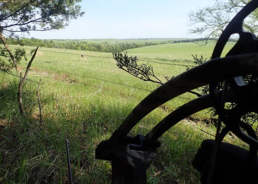 This photo shows the Cabela's Insurgent HC RTH Compound Bow held in a hunter's hand while Turkey hunting.