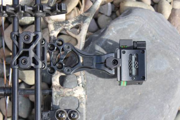 This photo shows the Trophy Right bow sight on the Cabela's Insurgent HC RTH Compound Bow.
