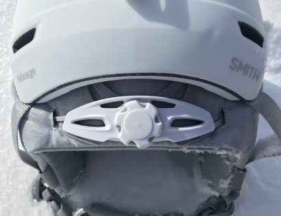 This Smith Mirage Snow Helmet review photo shows the rear fit adjustment knob.