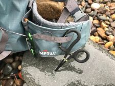 This photo shows the hip belt and attachment points for fishing accessories on the Umpqua Tongass 650 Waterproof Waist Pack.