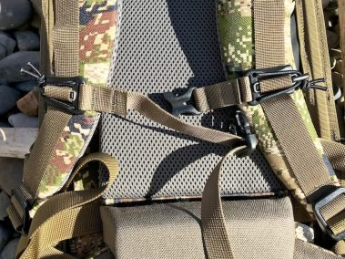 This photo shows the Mystery Ranch Mule backpack sternum strap.