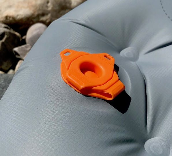 This photo shows the Sea to Summit Ether Light XT Insulated Air Sleeping Mat valve closed.
