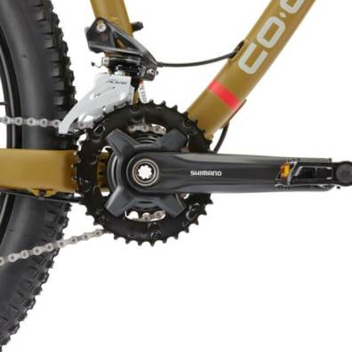 This photo shows a closeup of the Shimano Altus crankset on The REI DRT 1.2 mountain bike.