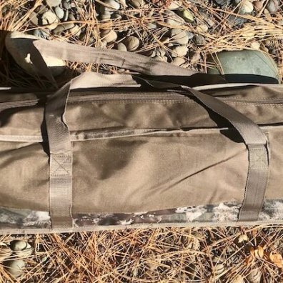 This photo shows the included carry bag for the Cabela's O2 Octane Camp Cot.