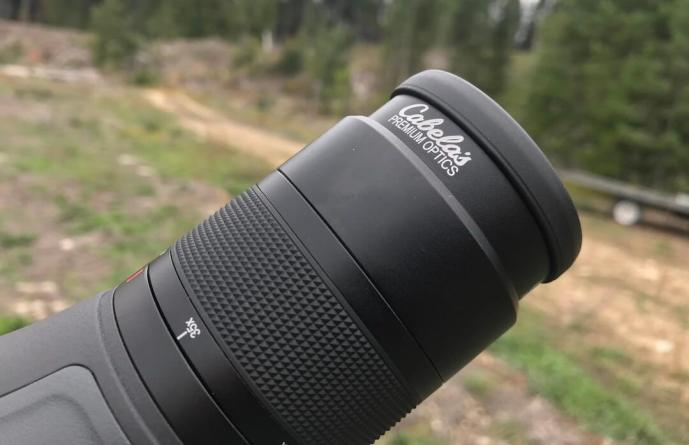 This photo shows the twist up eye cup on the Cabela's CX Pro HD Spotting Scope.