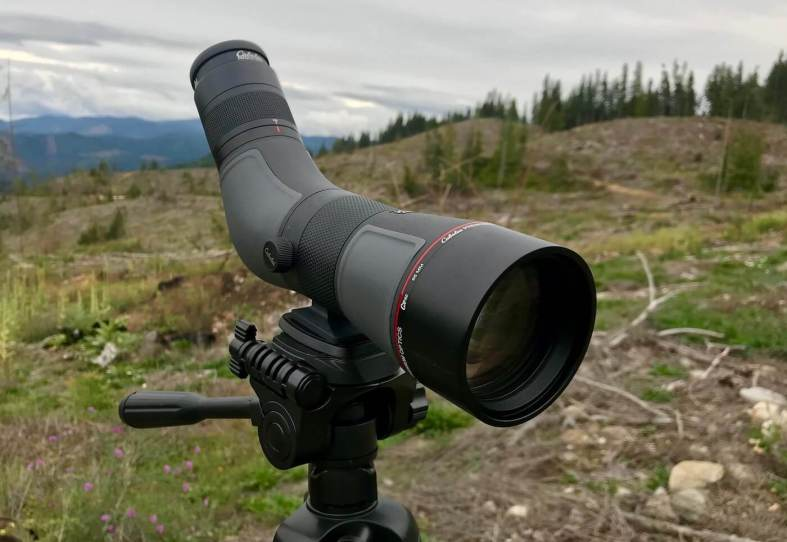The review photo shows the front view of the angled Cabela's CX Pro HD Spotting Scope.