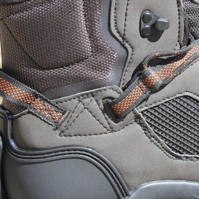 This photo shows a close-up of the Korkers Terror Ridge wading boots rear finger loop.