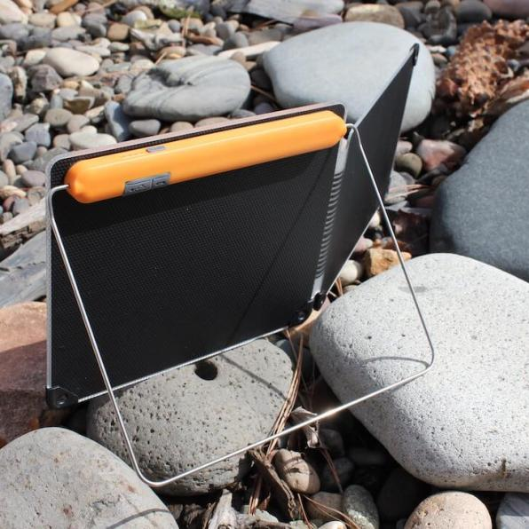 This review photo shows the rear of the BioLite SolarPanel 10+ solar charger.