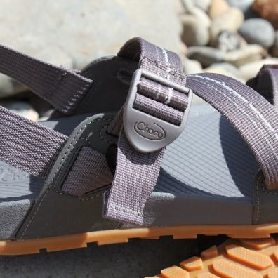 This review photo shows a closeup of the men's Chacos Lowdown Sandal buckle.