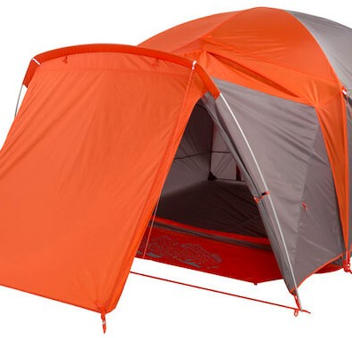 This photo shows the optional add-on vestibule for the Big Agnes Big House Tent.