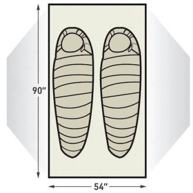 This illustration shows the sleeping arrangements for the L.L.Bean Mountain Light HV 2 Tent.