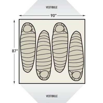 This illustration shows the sleeping arrangements for the L.L.Bean Mountain Light HV 4 Tent.