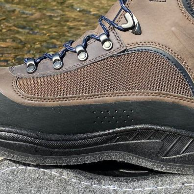 This photo shows the inside of the Cabela's Hiker Wading Boots for men.