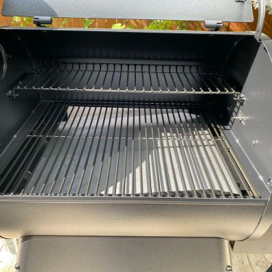 This Traeger review photo shows the Traeger Pro 575 grill assembled.