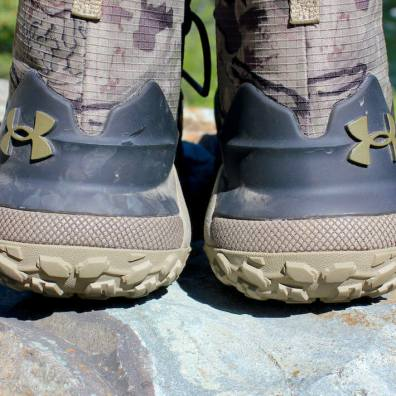 This photo shows the external heels on the Under Armour UA HOVR Dawn WP Boots.