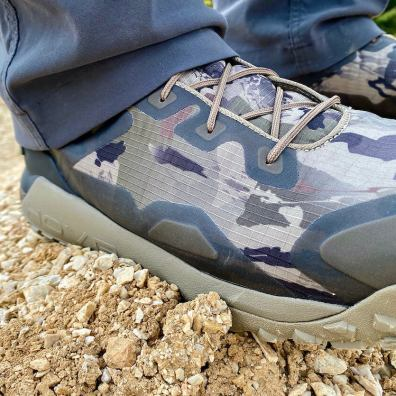 This Under Armour UA HOVR Dawn WP Boot photo shows a closeup of the upper boot.