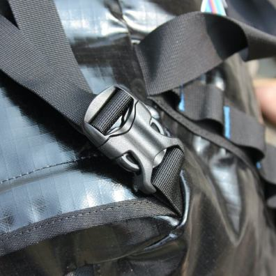 This photo shows the buckles on the backpack straps.