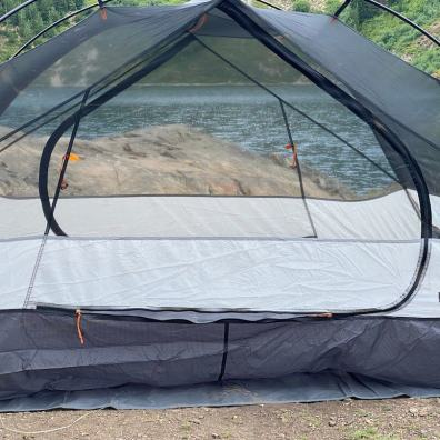 This photo shows the two mesh doors on the REI Co-op Half Dome tent.