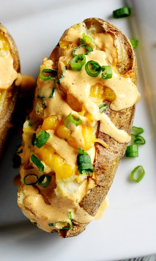 Twice Baked Potato W/ Sriracha Cream Sauce|www.mannaandspice.com