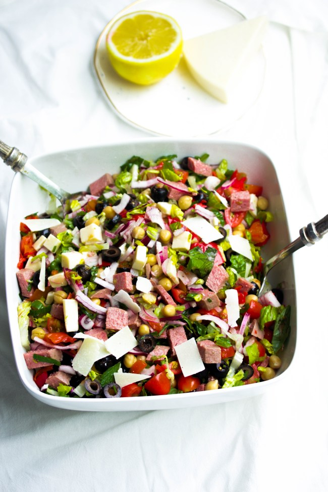 Summertime Chopped Antipasto Salad|www.mannaandspice.com
