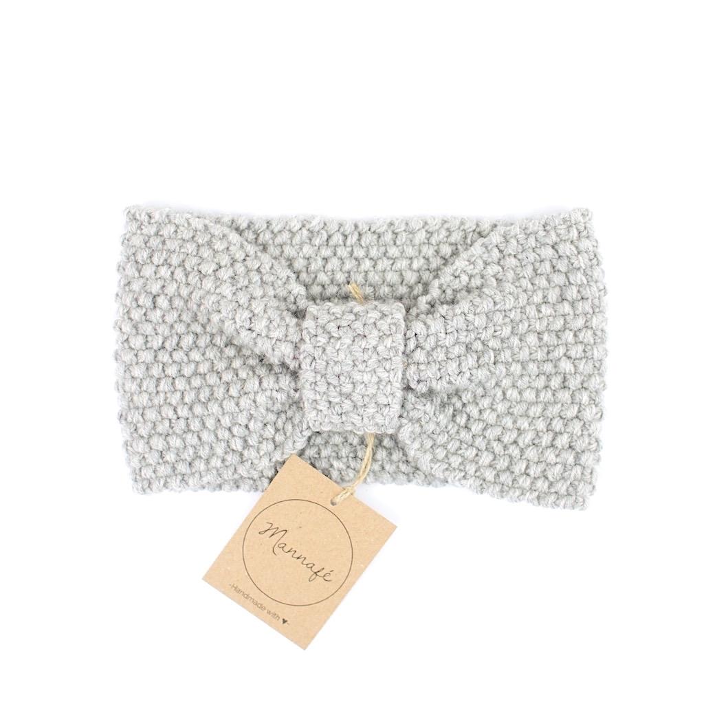 Bandeau tricoté en laine mérinos, gris clair