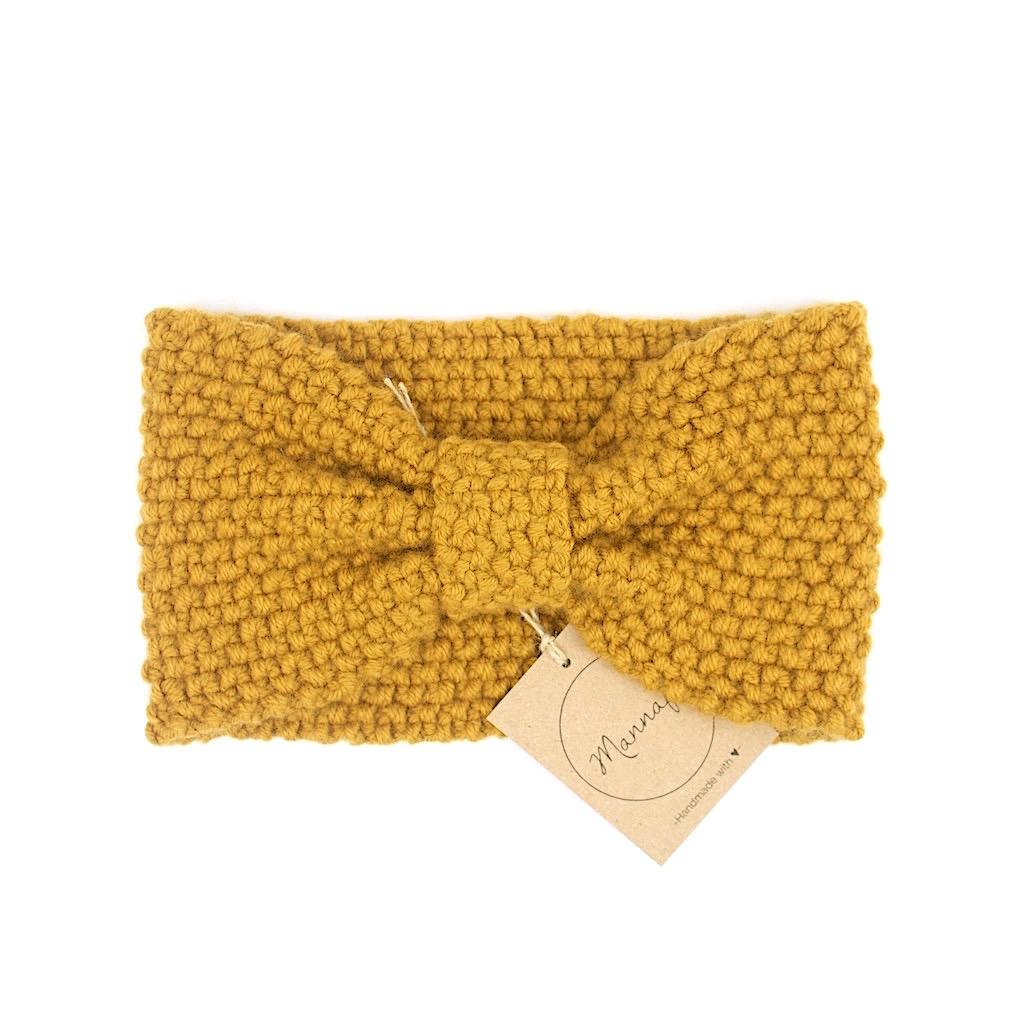 Bandeau tricoté en laine et cachemire, jaune moutarde