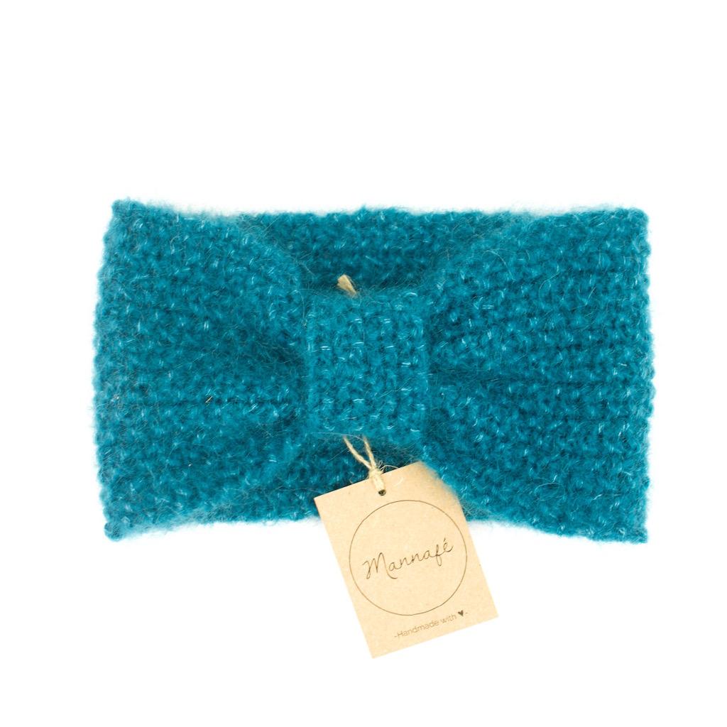 Bandeau tricoté en mohair et soie, vert canard