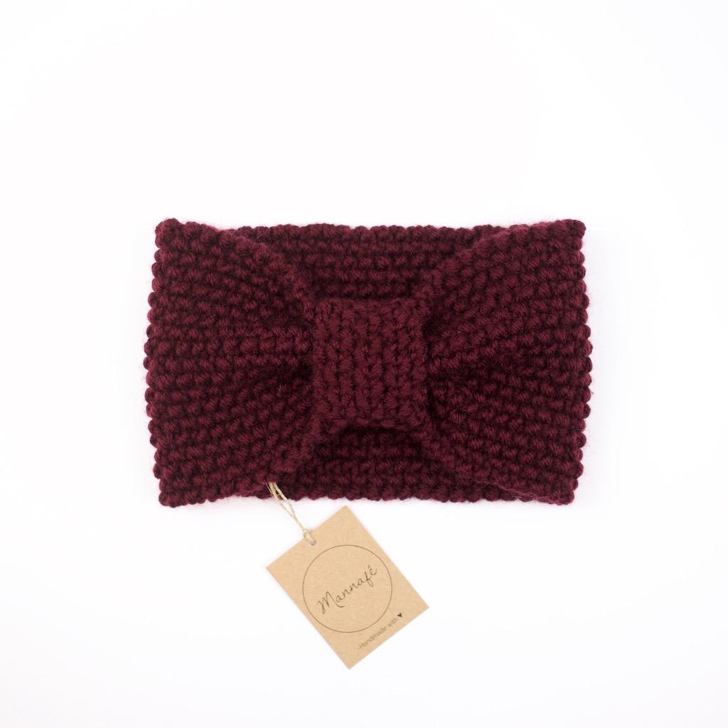 Bandeau tricoté en laine mérinos, coloris bordeaux