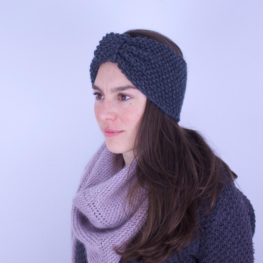 Bandeau tricoté en laine mérinos, coloris gris