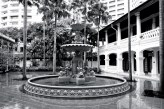 The Raffles Hotel and its fountain - an oasis in midst the busy city