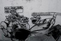 Wall Art & parts of a trishaw, Penang, Malaysia