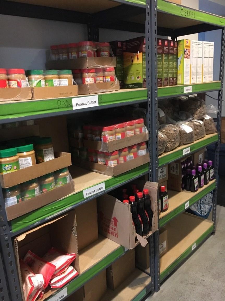 Food shelves inside Manna Pantry