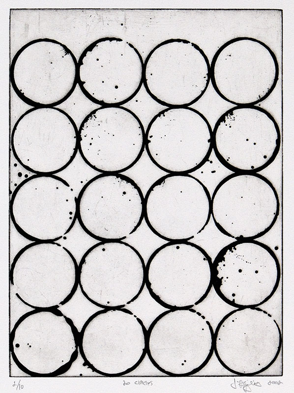 """""""20 Circles"""", 2002. Etching, edition of 10. Image: 11 ½"""" x 8 ½"""", paper: 17"""" x 14""""."""