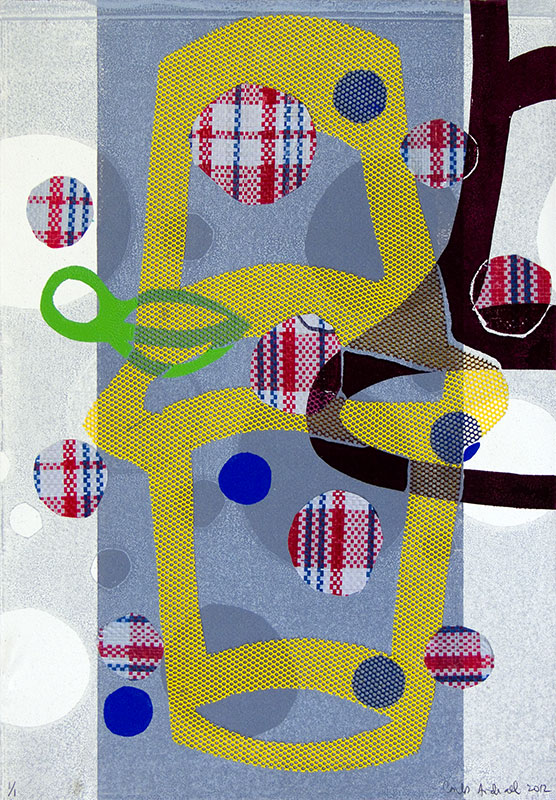 """""""Untitled"""", 2012. Monotype on fabric and paper. 22"""" x 15""""."""