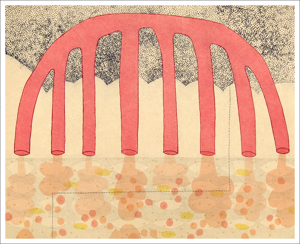 """""""Wump"""", 2009. Monotype, chine colle'. Image: 16"""" x 20"""", paper: 22"""" x 25""""."""