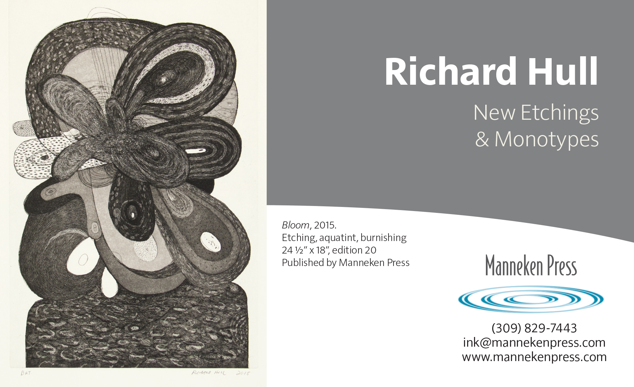 Manneken Press, Richard Hull, etchings, monotypes, new release