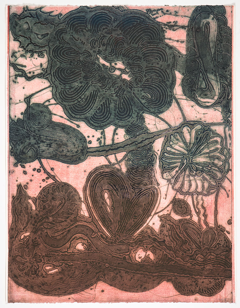 "Manneken Press in NYC. Garden ""(Daisy, Pheasant, Green on Rose)"", 2019. Unique collagraph, 42 1/2"" x 33"". Published by Manneken Press"